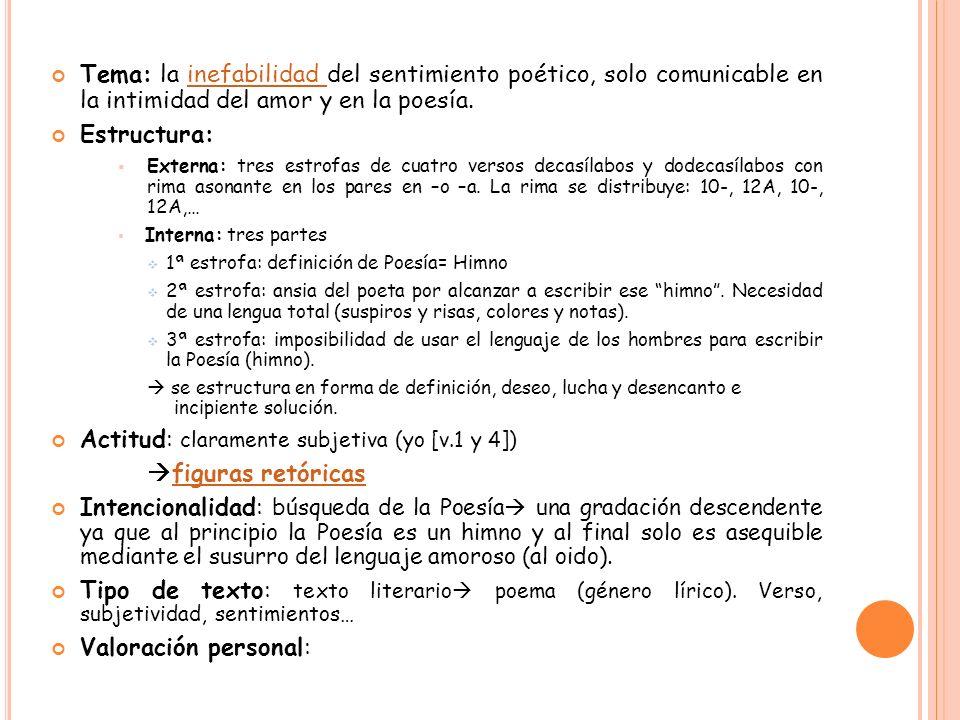 Actitud: claramente subjetiva (yo [v.1 y 4]) figuras retóricas